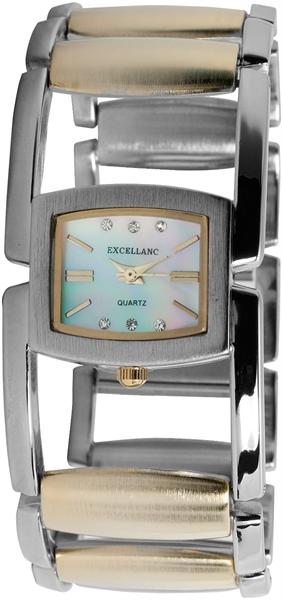 Excellanc Analog Damenuhr, Metall, Ø 29 mm, Silber Bicolor - 180012500142