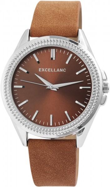 Excellanc Herren-Uhr Lederimitat Dornschließe Analog Quarz 2900095