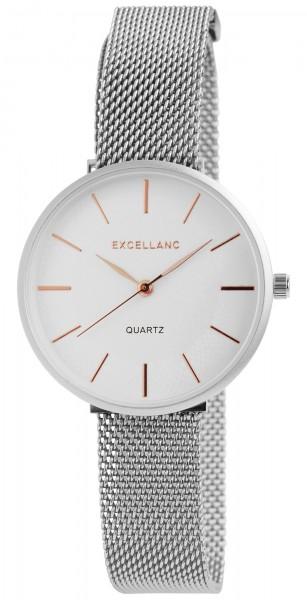 Excellanc Damen-Uhr Milanaisearmband Edelstahl Magnetverschluss Quarz Analog 1300033
