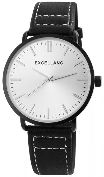 Excellanc Herren-Uhr Lederimitat Dornschließe Analog Quarz 2900091