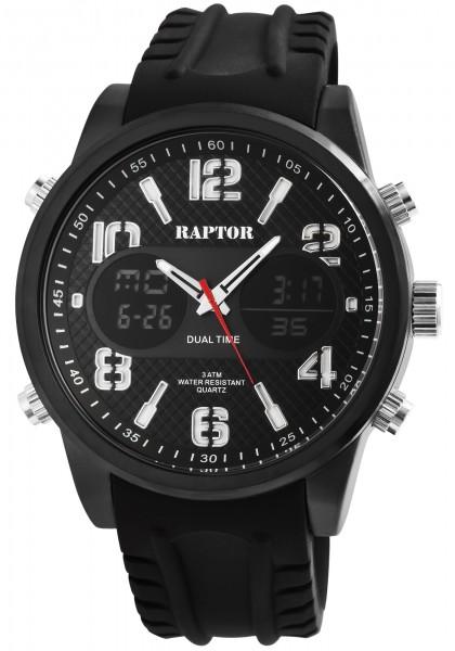 Raptor Herren-Uhr Silikon Datum Stoppuhr Alarm Digital Analog Quarz RA20234