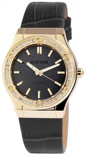 Raptor Damen-Uhr Armband Oberseite Echtleder Strass-Steine Analog Quarz RA10007
