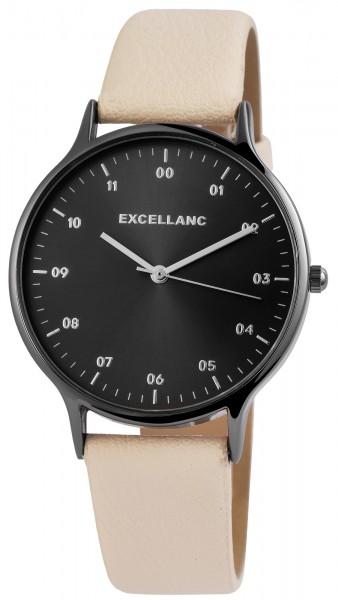 Excellanc Damen-Uhr Lederimitat Dornschließe Rund Analog Quarz 1900212