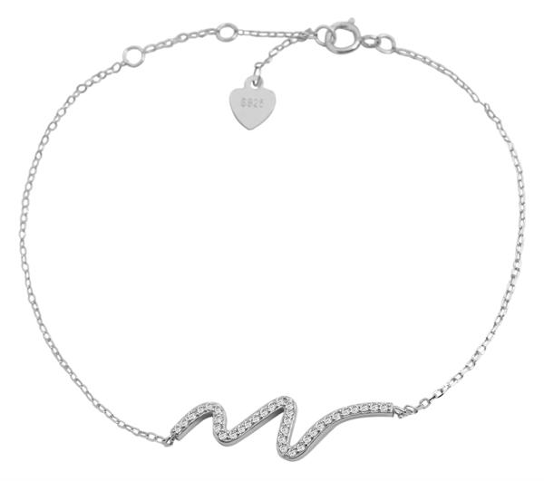 Giulia Luna - Armband 925er Silber 18+3 cm Welle Maritim Strass-Stein GL5240002