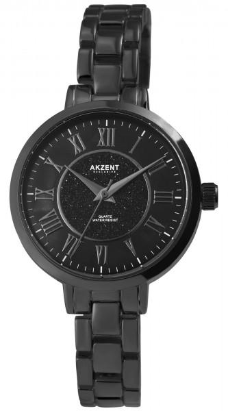 Akzent Damen - Uhr Metallglieder Armbanduhr Glitzer Analog Quarz 1800196