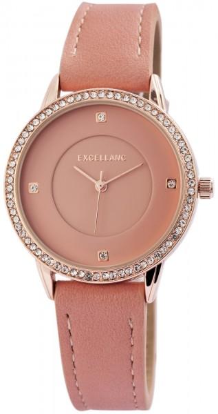 Excellanc Damen-Uhr Lederimitat Dornschließe Strass Analog Quarz 1900156