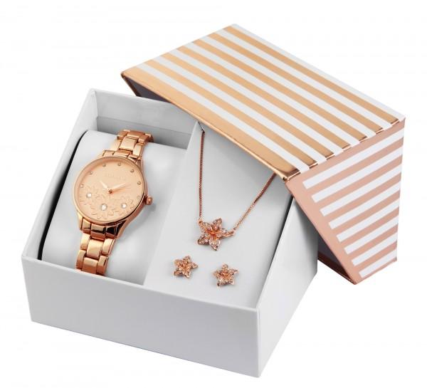 Excellanc Damen Geschenkset mit Damenuhr Kette und Ohrringen 1800185