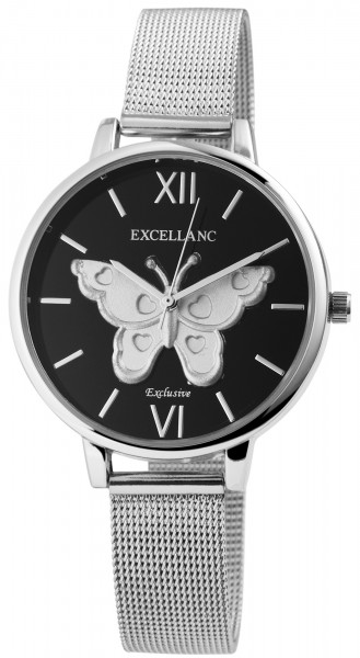 Excellanc Damen-Uhr Schmetterling Edelstahl Hakenverschluss Analog Quarz 1900098