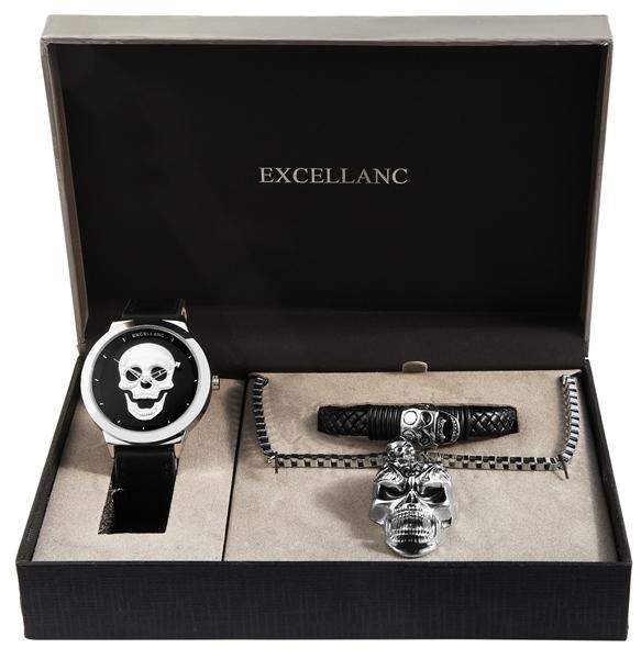 Excellanc Herren-Schmuckset Uhr Kette Armband Analog Quarz 2900161