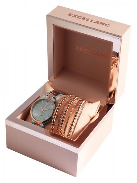 Excellanc Damen - Geschenkset Damenuhr mit Metallband und modischen Armreifen1800181