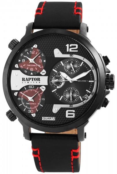Raptor Limited Herren-Uhr Analog Quarz 3 Zeitzonen RA20130