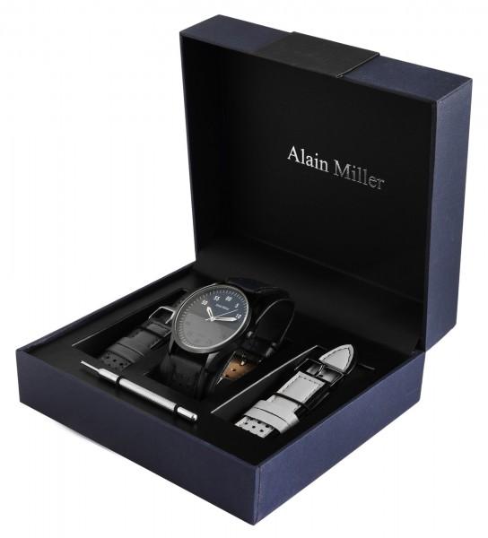Alain Miller Uhrenset / Geschenkset Herrenuhr mit 2 Bändern aus Lederimitat
