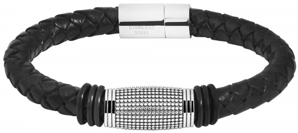 Akzent Unisex - Armband aus Echtleder mit Edelstahl Länge 21,5 cm 5040244