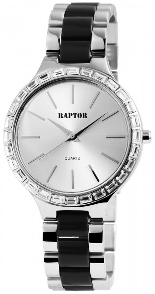 Raptor Damen - Uhr Edelstahl Armbanduhr Strass Analog Quarzwerk RA10139