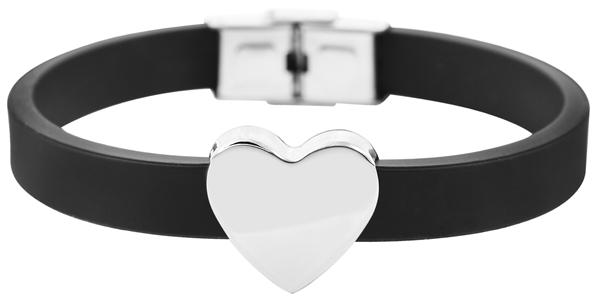 Akzent Damen-Armband Gravur Initialen Herz Edelstahl Silikon 5030501