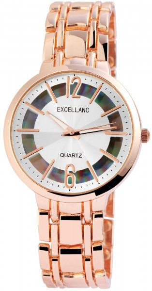 Excellanc Damen – Uhr Metallband Faltschließe Analog Quarz 1800127
