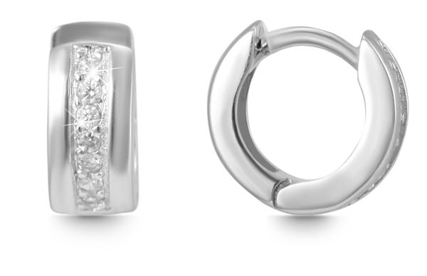 Giulia Luna Damen –Creolen 925er Silber rhodiniert Ohrringe Strass GL5200057