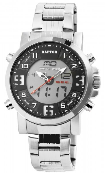 Raptor Herren-Uhr Edelstahl Leuchtzeiger Datum Analog Digital Quarz RA20309