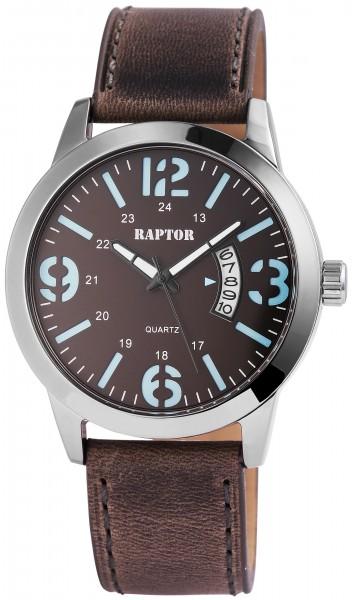 Raptor Herren-Uhr Oberseite Echtleder Datum Quarz Analog RA20093