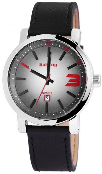 Raptor Herren - Uhr Oberseite Echtlederarmband Datumsanzeige Quarzwerk RA20116