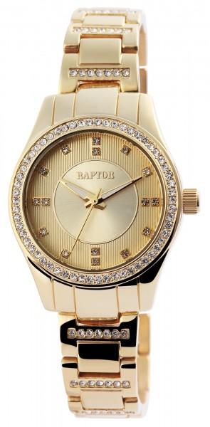 Raptor Damen-Uhr Edelstahl Armband Analog Quarz mit Strassbesatz RA10050