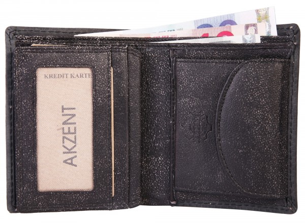 Akzent Herren - Geldbörse Leder Portemonnaie RFID Quer 11,5 x 9,5 cm 3000266
