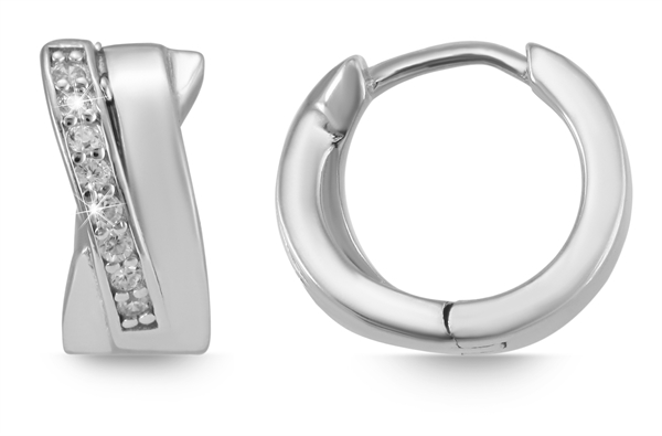 Giulia Luna Damen – Ohrringe 925er Silber rhodiniert Creole Strass GL5200063