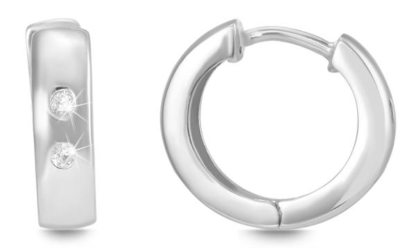 Giulia Luna Damen – Ohrringe 925er Silber rhodiniert Creole Strass GL5200055