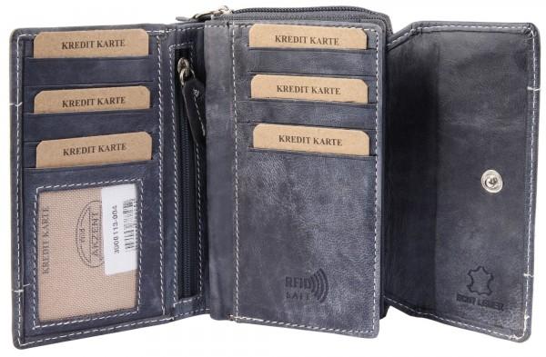 Akzent Damen Geldbörse aus Echtleder. Format 14 x 9 cm.