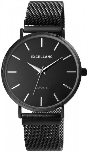 Excellanc Herren-Uhr Meshband Edelstahl Magnetverschluss Analog Quarz 2300012