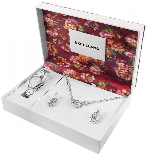 Excellanc Damen Metallbanduhr im Set mit 1 Paar Ohrringen und Halskette 1800203
