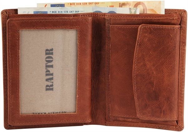 Raptor Herren Geldbörse aus Echtleder. Format 10 x 13 cm.