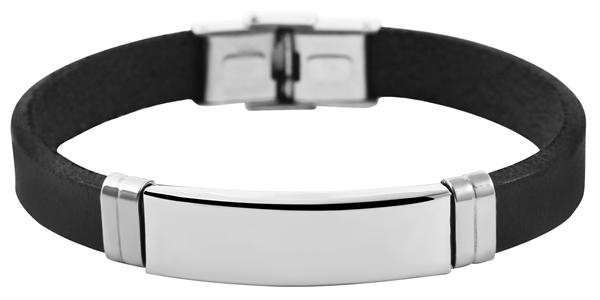 Akzent Unisex-Armband Gravur Edelstahl Echt Leder 5040232