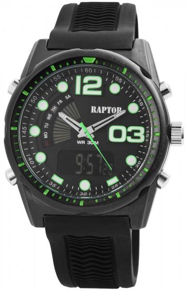 Raptor Herren-Uhr Analog-Digital Anzeige Quarzwerk mit Silikon Armband RA20031