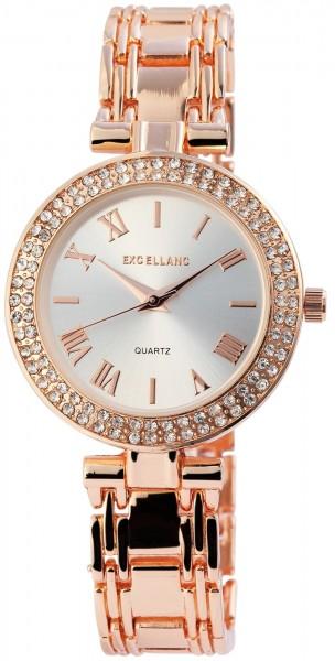 Excellanc Damen-Uhr Metallarmband Clipverschluss Strass-Steine Analog Quarz 1800075