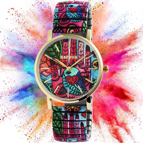 Raptor Colorful Edition Damen-Uhr Zugband Edelstahl Motiv Bunt Print Analog Quarz