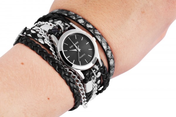 Excellanc Damen-Uhr Wickelarmband Metall Lederimitat Analog Quarz 1900180